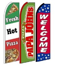 Fresh Hot Pizza Papa John's Welcome King Size Swooper Flag Pack  of 3 - $51.99