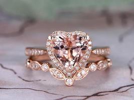 8MM Heart Shape Morganite Bridal Ring Set 14k Rose Gold Over 925 Sterling Silver - $126.39