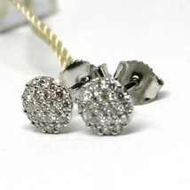 White Gold Earrings 750 18K, Diamonds Carat 0.39, Button, round, Pave image 2