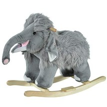 Qaba Kids Ride-On Rocking Horse Toy Mammoth Style Rocker with Fun Music & Soft P