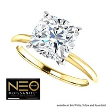 2.00 Carat (7.5mm) NEO Moissanite Cushion Ring in 14K Gold (with NEO war... - $1,599.00
