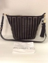 Michael Kors Black Leather Brooklyn Grommet Medium Feed Bag  - $167.37