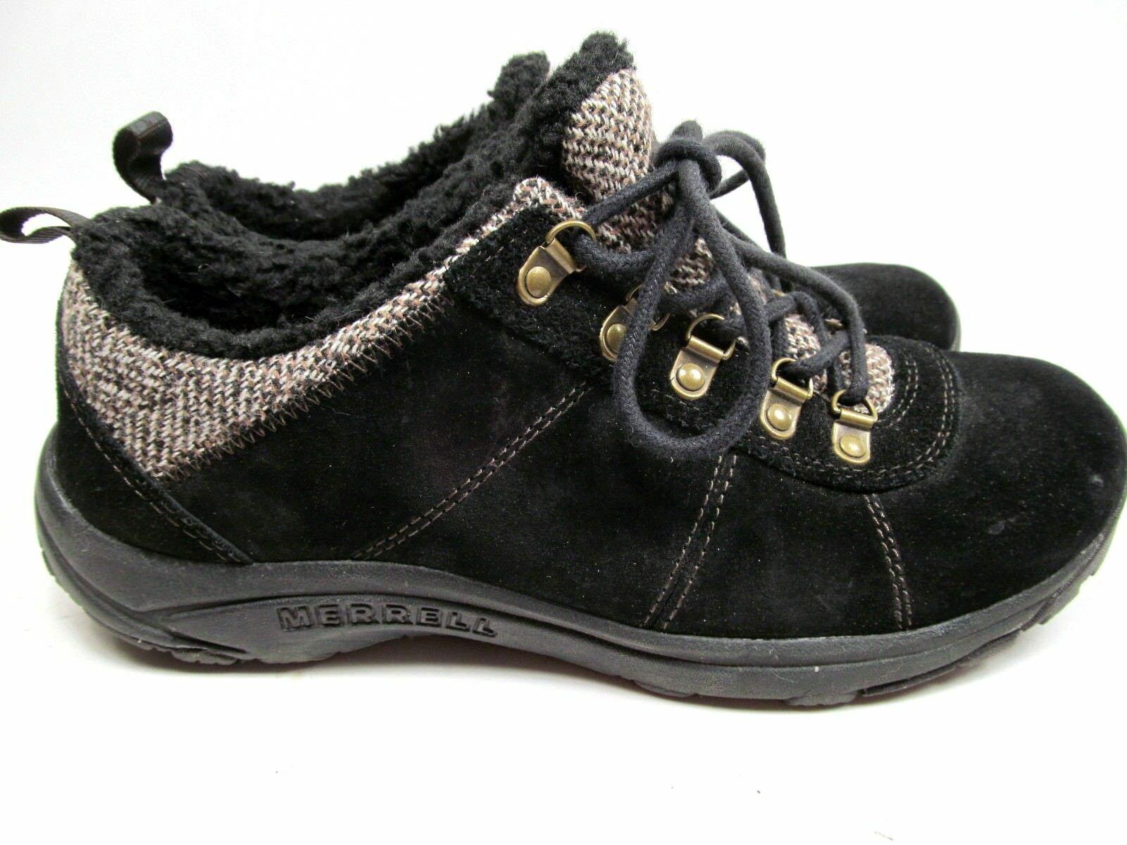MERRELL Performance Women's Black Suede & Faux Fur Walking Shoes 9 M image 2