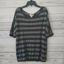 Ann Taylor LOFT Charcoal Gray & Silver Short Sleeve Knit Top Womens Small - $9.89