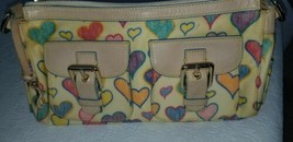 Vintage Cream Dooney & Bourke Small Heart Logo Leather Trim Handbag/Purse - $12.86