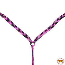 Hilason Horse Breast Collar Flat Braided Paracord Pink / Black U-A217 - $32.95