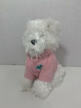 Bath & Body Works Chip small white puppy dog terrier plush pink polo shirt - $6.92