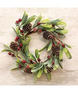 """Frosted Mistletoe Candle Ring Glittered Red Berries 4.5"""" Open Craft #SPG98 - $28.17"""