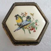 Vintage Wind Up Gold Tone Cast Metal Music Trinket Box Porcelain Top Birds - $27.15