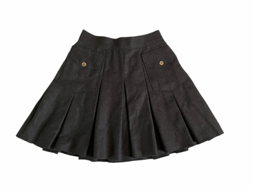 Dolce & Gabbana Charcoal Women Wool Lined Pleated Skirt Made in Italy  Sz 38