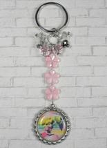 Princess Peach Flower Crystal Beaded Handmade Split Ring Keychain Pink New - $16.48