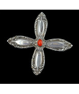 Vintage Sterling Silver Red Coral Towle Spoon Handles Handmade Cross Pen... - $143.99