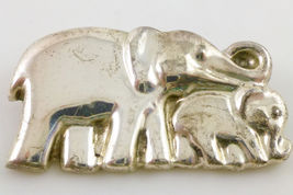 ELEPHANTS Mother and Baby Sterling Silver Vintage Brooch Pin - 2 1/8 inches - $50.00