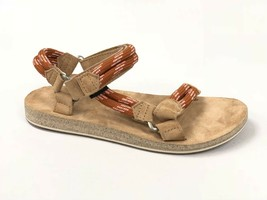 Teva Women's Original Universal Rope Suede Footbed Sandals Cognac Orange... - $59.99