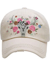 Distressed Country Western Cowgirl Longhorn Flowers Hat Baseball Cap image 7