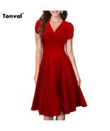 Dress Dress Audrey vintage Summer Ruffle V-neck elegant - $44.99