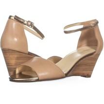 Cole Haan Rosalin Wedge Ankle Strap Sandals 303, Sandstone/Gold, 8.5 US - $71.03