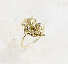 Lovely Victorian 14K Yellow Gold Diamond Accent Goddess Conversion Ring - $499.95