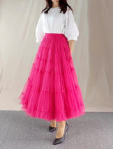 Women A Line Layered Tulle Skirt Outfit Plus Size Full Tiered Ruffle Tulle Skirt image 11