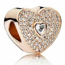 PANDORA Rose Sweetheart Charm Rose Gold, Cubic Zirconia 14 Ct Rose Gold #25 - $61.10