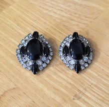 Vintage Black And Rhinestone Clip Earrings - $14.01