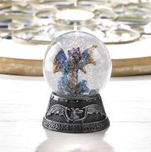 BLUE DRAGON MINI Water Globe Small Glitterdome Medieval Fantasy - $17.73