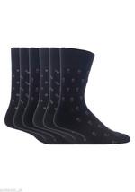 6 Pairs Mens Gentle Grip Socks Size 6-11 Uk, 39-45 Eur MGG46 Black Squares - $11.01