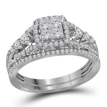 14k White Gold Princess Diamond Cluster Bridal Wedding Engagement Ring Set - $978.50