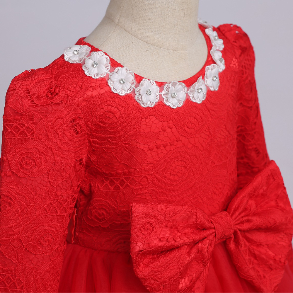 Red Long Sleeve Lace Flower Girls Dress O-Neck Pricess Prom Gowns With Bow 2018