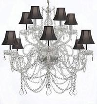 Murano Venetian Style All-Crystal Chandelier with Black Shades W/Chrome ... - $390.03