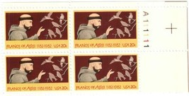 1982 Francis of Assisi Plate Block of 4 US Postage Stamps Catalog 2023 MNH