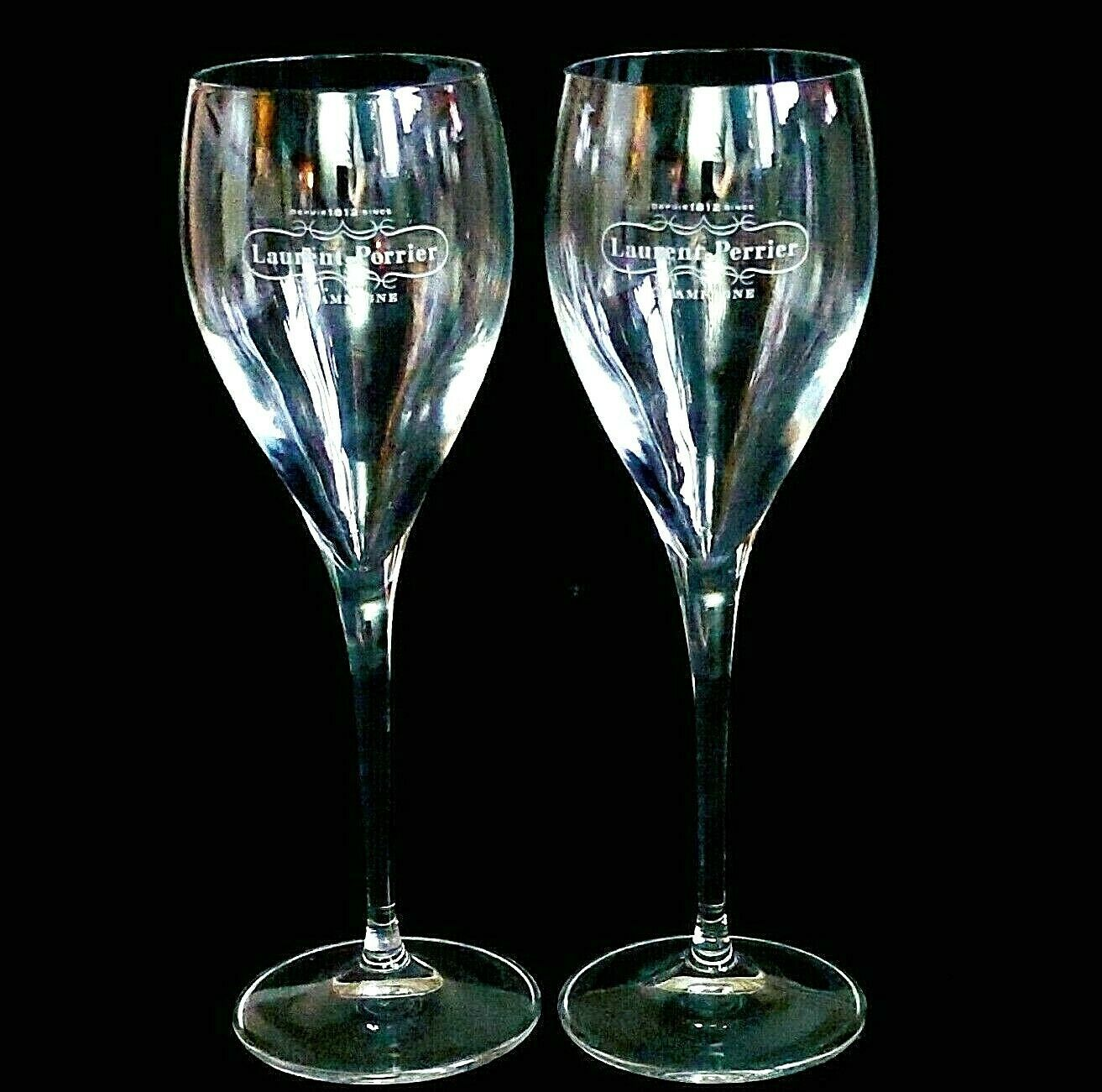 "2 (Two) LAURENT-PERRIER Maison Fonde'e 1812 Crystal Champagne Flutes 7 3/4"" Tall"