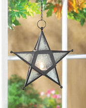 Hanging Five-Pointed Star Candle Lantern Clear Pressed Glass Lot of 10 - $104.95