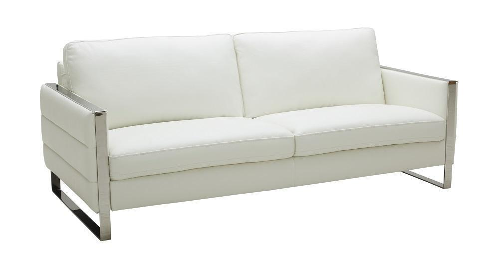 J&M Constantin Contemporary White Italian Leather Living Room Sofa