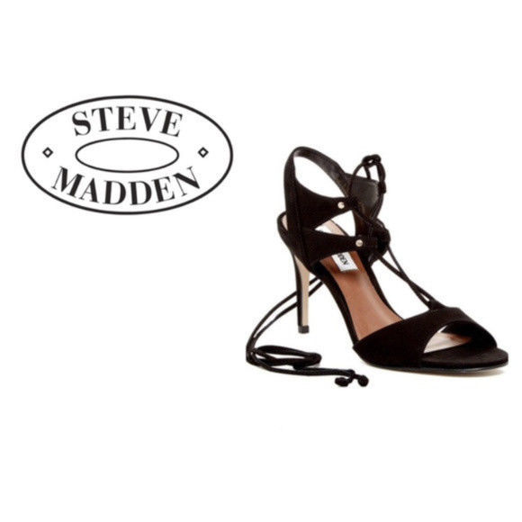 73181c6b416 ... Womens Steve Madden Black Suede Leather Heels Lace Up Sandal Shoe Sz  7.5 NIB ...