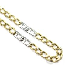 18K YELLOW WHITE GOLD BRACELET 3 MM, 7.9 INCHES, ALTERNATE GOURMETTE AND SQUARE image 3