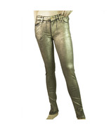Reiko Alanis Metallic Silver Pants Elasticated Skinny Trousers size 26 - $113.85