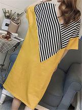 Maternity Dress Patchwork Color Block Stripes Batwing Sleeve V Neck Loose Dress image 5