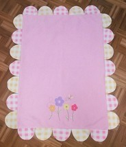 Carters Baby Blanket Pink Yellow Girl Flowers Gingham Butterfly Petals  ... - $29.99