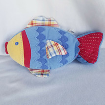 """Pottery Barn Kids Embroidered Fish Pillow Blue Red Yellow Plaid 17"""" X 11"""" - $20.37"""