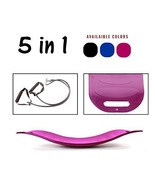 Wobble Balance Board 5 In 1 Trainer With Workout Bands Pink Compact Fitn... - $28.01