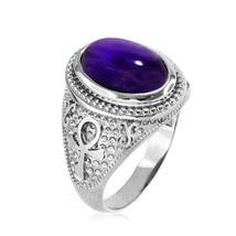 Sterlingsilber Ägyptische Ankh Kreuz Amethyst Statement Ring - $69.99