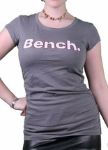 Bench Urbanwear Femmes Teinté Perle Gris Matelot Logo T-Shirt BLGA2358 Nwt
