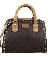 Michael Kors Sandrine Studded Large Leather MK Signature Satchel / Cross... - $229.00