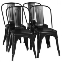 4 Pcs Modern Bar Stools with Removable Back and Rubber Feet-Black - Colo... - $253.42