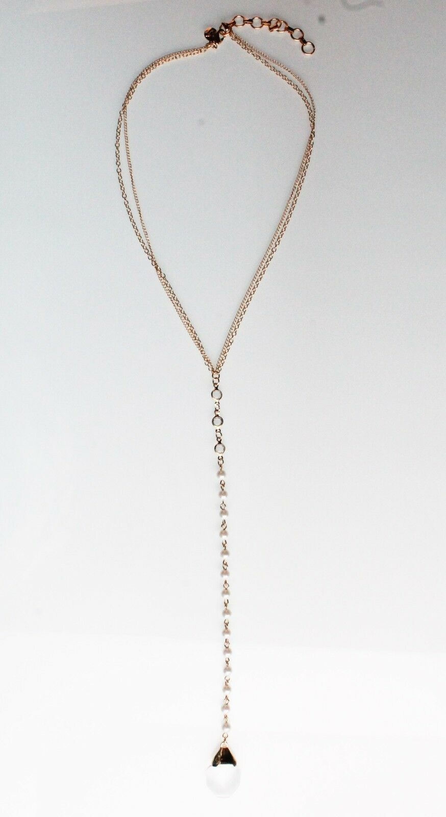 Cohesive Jewels Long Gold Plated Simulated Crystal & Pearl Channel Y Necklace