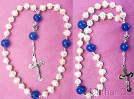 Anglican Episcopal Rosary Pearl & Chalcedony Beads w Sterling Silver Cross  - $99.00