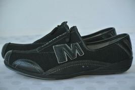 Merrell Arabesque Womens Sz 7 M Black Leather & Mesh Slip On Zipper Flats Shoes - $21.77