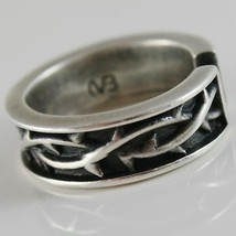 Silver Ring 925 Burnished Band with Crown of Plugs and Size Adjustable image 2