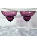 Vintage Amethyst Purple Handblown Margarita Glasses Clear Stem Set of 2 - $31.30